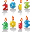 Stock Vector: Vector new year 2013 candles