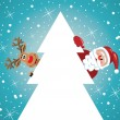 Vector holiday  santa claus and reindeer with christmas tree — Stock Vector