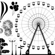 Vector elements of amusement park - Vettoriali Stock