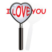 Vector magnifying glass over i love you words — Stock Vector