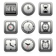 Stock Vector: Vector clock and time symbols