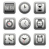 Vector de reloj y tiempo símbolos — Vector de stock