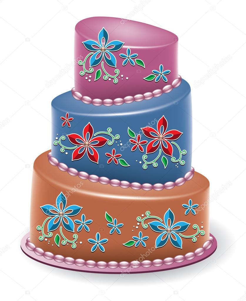 矢量大花蛋糕