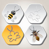 Vector symbols of bee on honeycell — Stock Vector