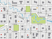 Vector road map of a town — Stock Vector