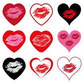 Vector heart symbols set with kiss — Stock Vector