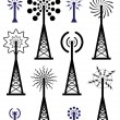 Vector radio tower and wave broadcast symbols and icons — Stok Vektör