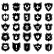 Vector set of shield icons with symbols — Stock Vector