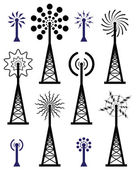 Vector radio tower and wave broadcast symbols and icons — Stock Vector