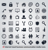 Vector icons for internet, travel, business, communication and m — Stock Vector