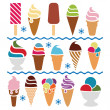 Vector ice cream icons — Stock Vector