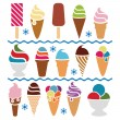 Vector ice cream icons — ストックベクタ