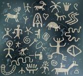Vector ancient petroglyphs — Stock Vector