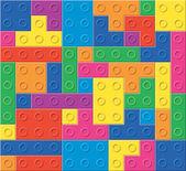 Vektor mönster av färgglada plast block — Stockvektor