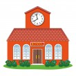 Vector  country school building — Stock Vector