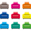 Vector colorful armchair set — Stock Vector