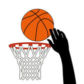 Vector symbol of shot of basketball ball through a hoop — Stock Vector