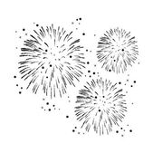 Vector black and white fireworks background — Stock Vector