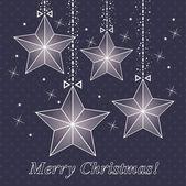 星星矢量圣诞卡片 — 图库矢量图片