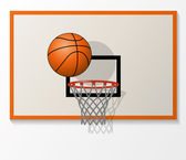 Vector basketball net and backboard set, ball dunk in the hoop — Stock Vector