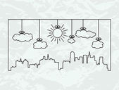Vector city contours of buildings and clouds — Vetorial Stock