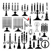 Vector silhouettes of candlesticks and candles — Stock Vector
