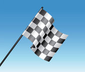 Vector racing checkered flag and blue sky — Stockvector