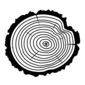 Vector wooden cut of a tree log — Stockvektor