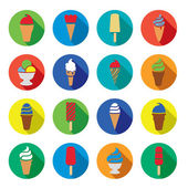 Vector collection of colorful ice cream icons — Stock Vector