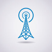Vector design of radio tower broadcast icon — Stock Vector