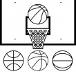 Stock Vector: Vector collection of basketballs and backboard