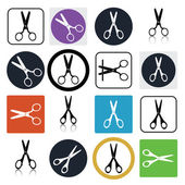 Vector set of cutting scissors icons — Stock Vector