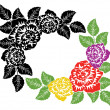 Vector black and white and colorful roses background — Stock Vector #42387531