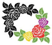 Vector de rosas blancas y negras y colorido fondo — Vector de stock