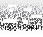 Vector crowd of people marching to protest or to support — Stock Vector
