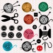 Vector yarn balls and sewing equipment icons — Stock Vector