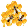 Vector working bees on honeycells  — Stock Vector #44642209
