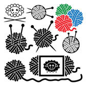 Vector icons of yarn balls with sewing equipment needles and she — Stock Vector