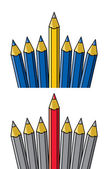 Vector unique pencil standing out from others  — Stock Vector
