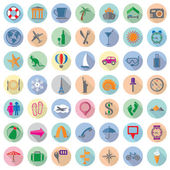 Vector set of colorful travel flat icons  — Stockvector