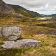 View along Nant Francon valley Snowdonia National Park landscape — Zdjęcie stockowe