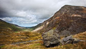 View along Nant Francon valley Snowdonia National Park landscape — Stock Photo