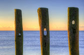 Velhos esporões na última linha de defesa de praia ao nascer do sol contra a maré — Fotografia Stock