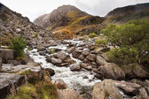 View of Tryfan looking up Ogwen Falls in Autumn Fall — Stock Photo