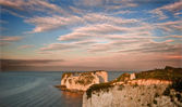 Old Harry Rocks Jurassic Coast UNESCO Dorset England at sunset — Stock Photo