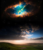 Countryside sunset landscape with planets in night sky Elements — Stock Photo