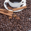 Coffee with cinnamon sticks and star anise surrounded by beans — Stock Photo #16634719