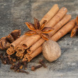 Detail image of cloves, cinnamon sticks, star anise and nutmeg — Stock Photo #16634755