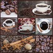 Compilation collage of warm coffee and caffeine related images — Stock Photo