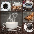 Compilation of various coffee related images — Stock Photo
